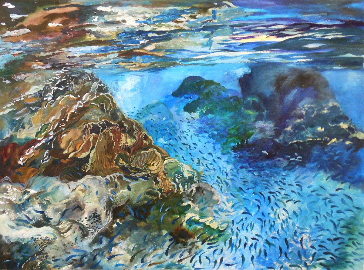 Going with the Flow in St. John - Watercolor Painting by Ellen Masko.