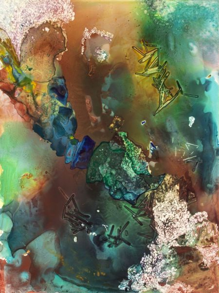 Thumbnail image of Deciphering Clues. Abstract Watercolor Painting by Ellen Masko.