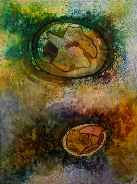 Thumbnail image of Abstract Painting in Orange, Green and Yellow by Ellen Masko