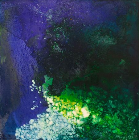 Thumbnail image of Abstract Painting in Blue with a splash of Yellow and Green by Ellen Masko